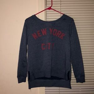 navy blue and red pull over